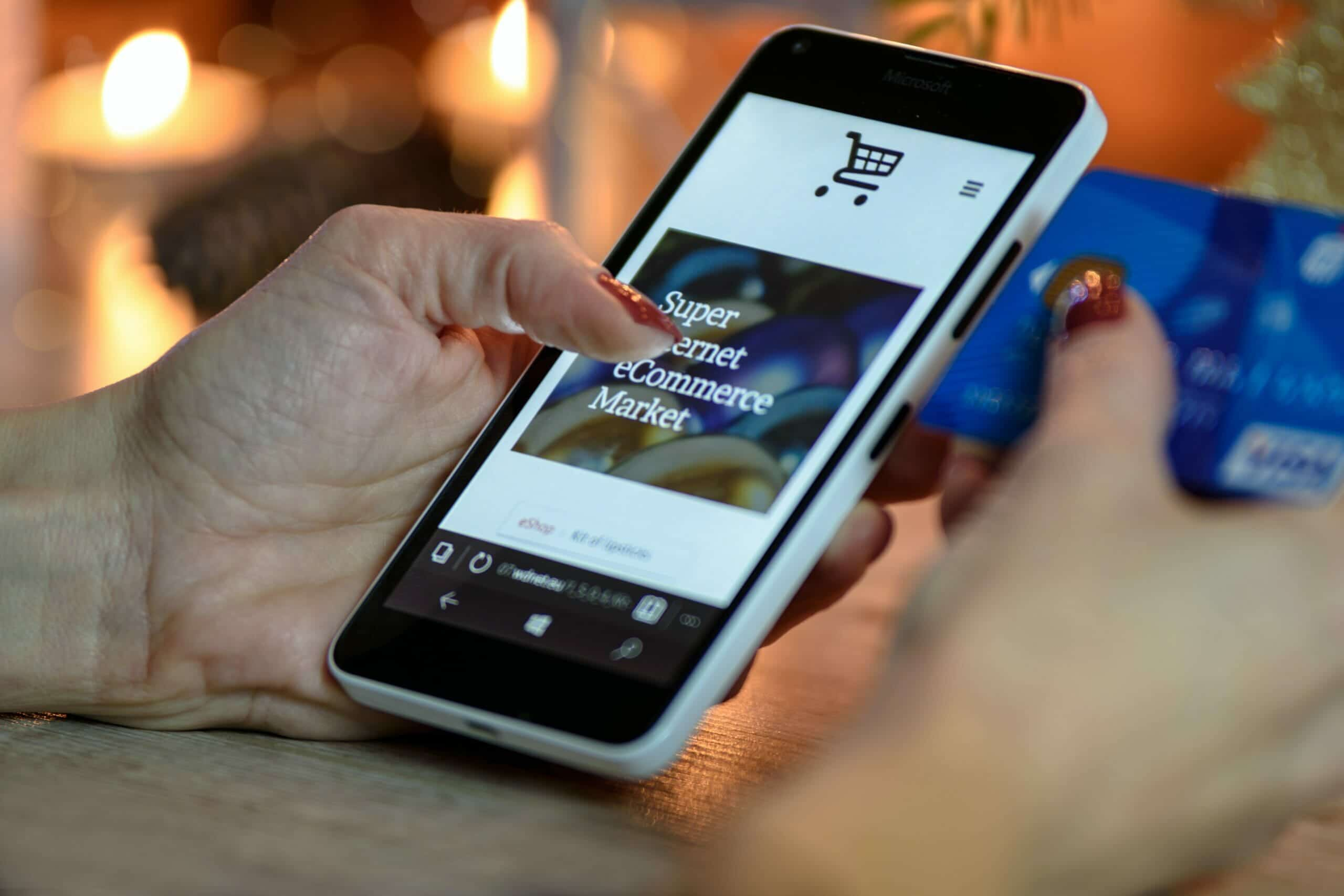 ecommerce site on a phone